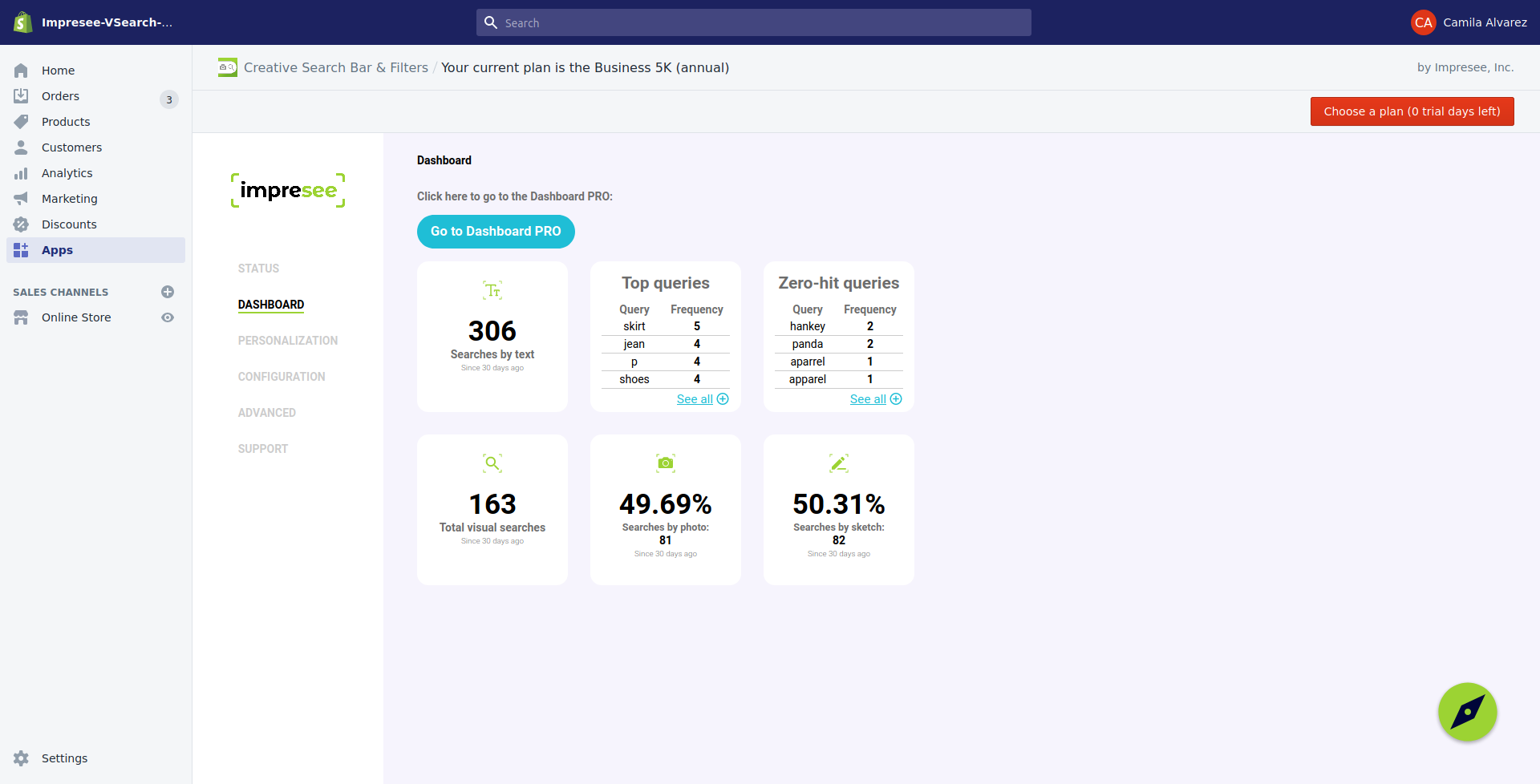 Impresee Dashboard in Shopify App admin