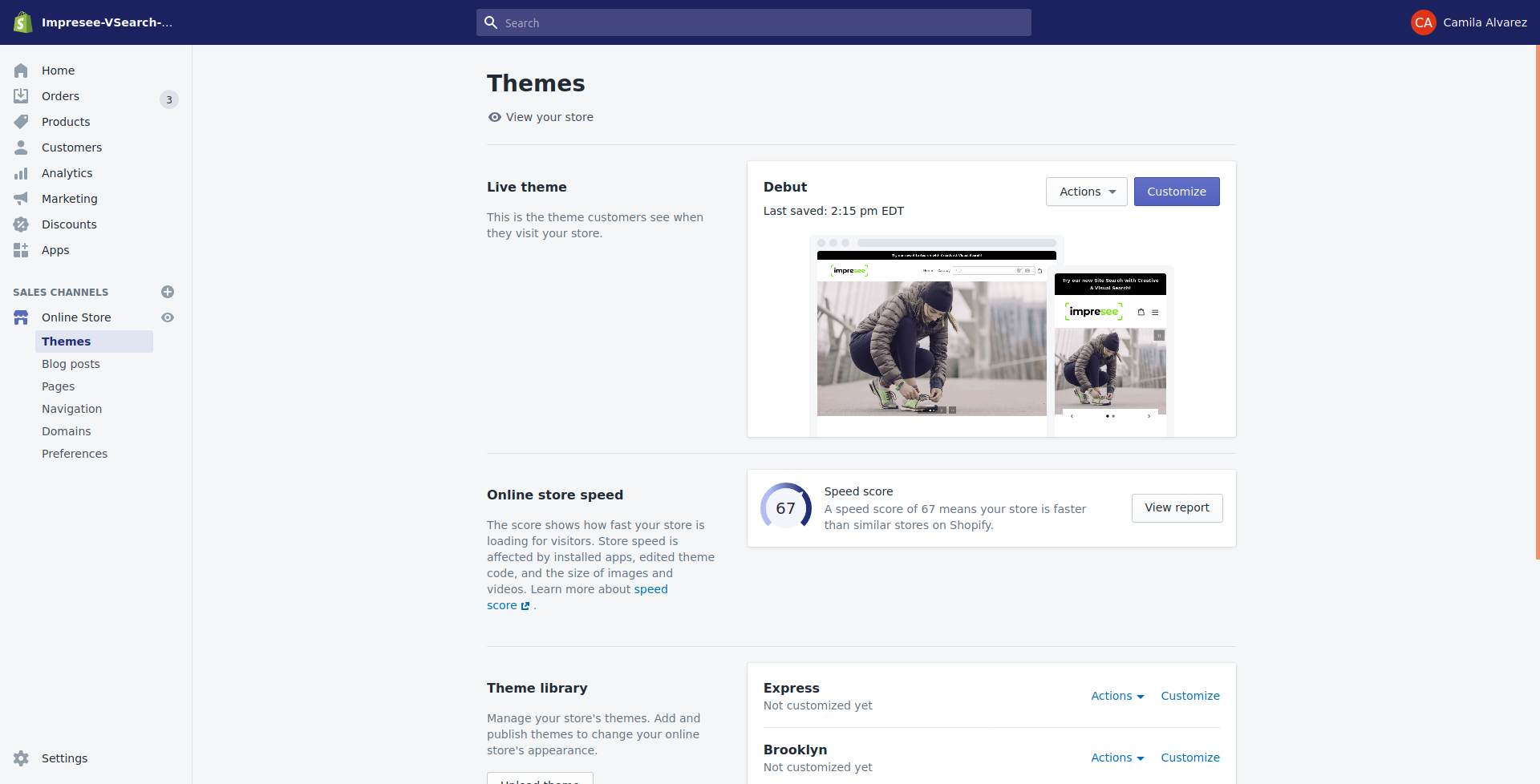 Theme menu shopify