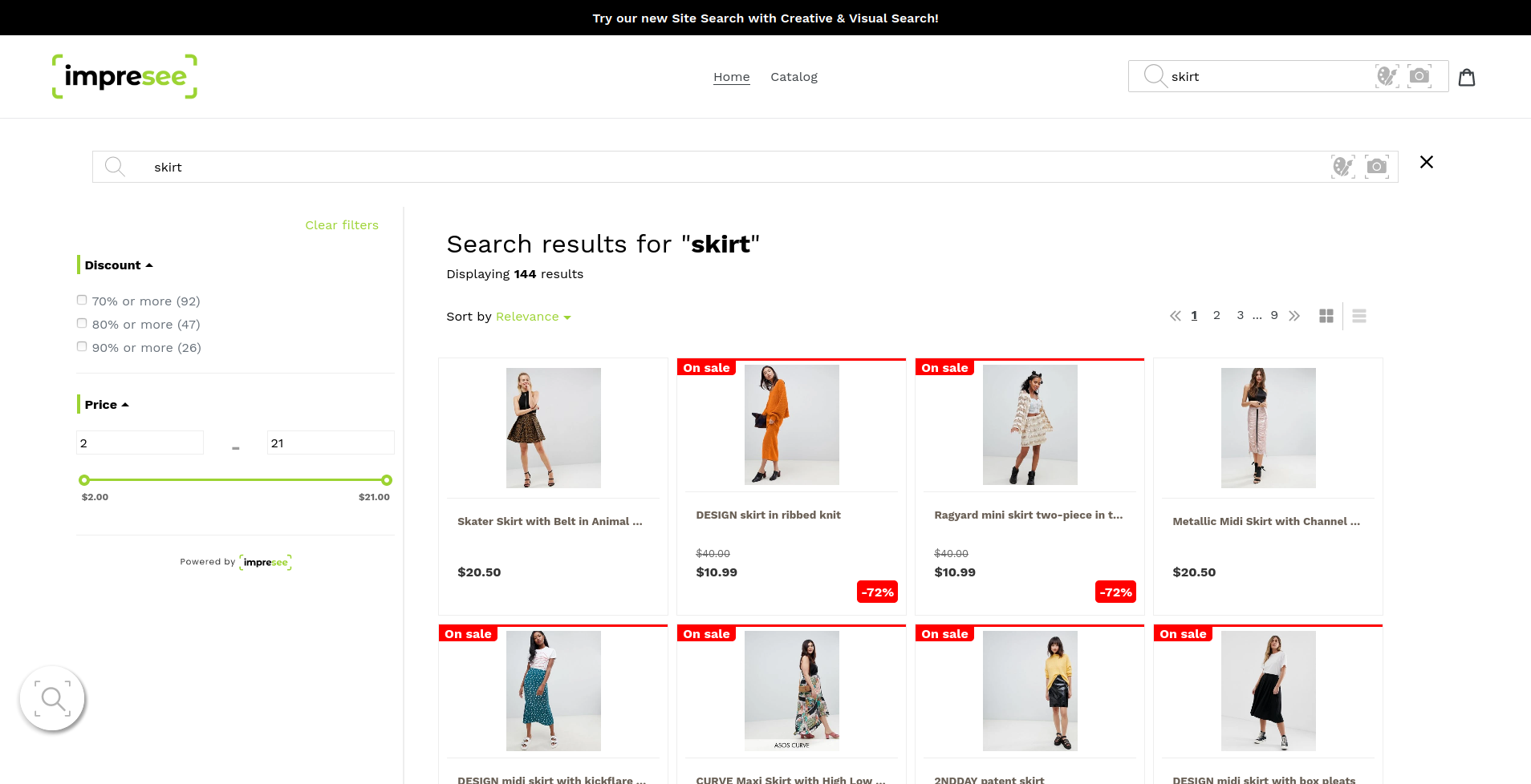 Impresee Search results on Shopify